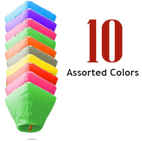 10 Assorted Color Diamond Sky Lanterns.