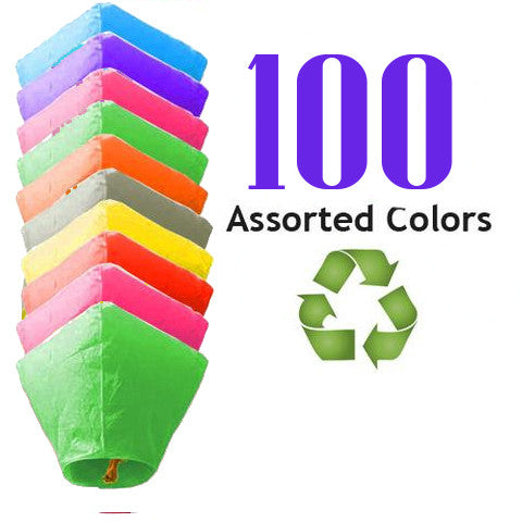100 Assorted Color ECO Diamond Sky Lanterns.