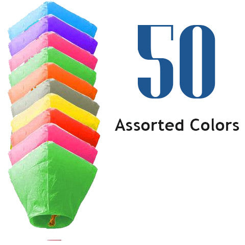 50 Assorted Color Diamond Sky Lanterns