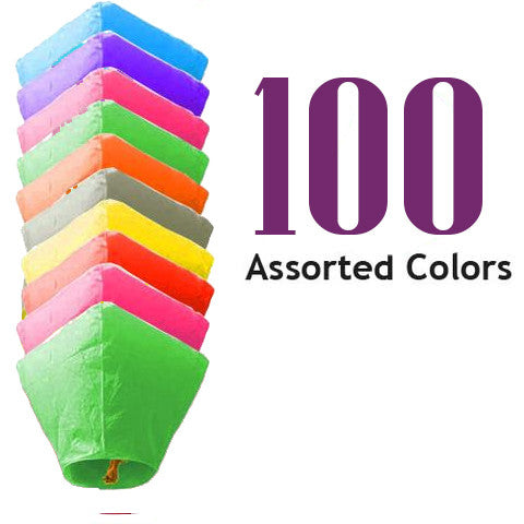 100 Diamond Sky Lanterns Assorted Colors