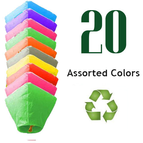 20 Assorted Color ECO Diamond Sky Lanterns