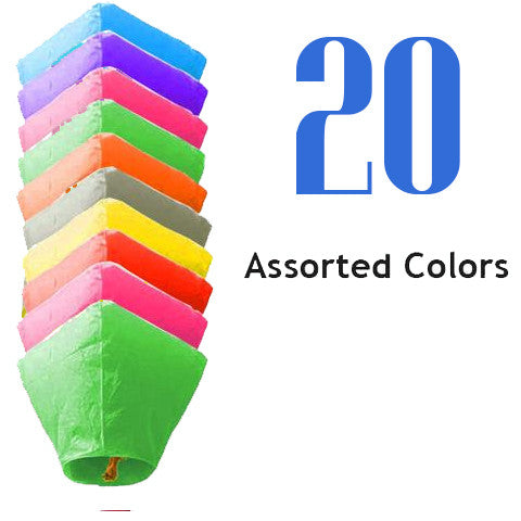 20 Assorted Color Diamond Sky Lanterns