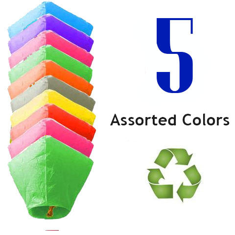 5 Assorted Color Diamond Sky Lanterns - Fully Assembled and Completely Biodegradable