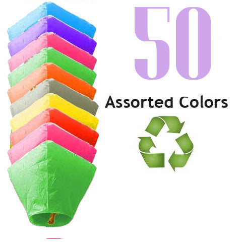 50 Assorted Color ECO Diamond Sky Lanterns