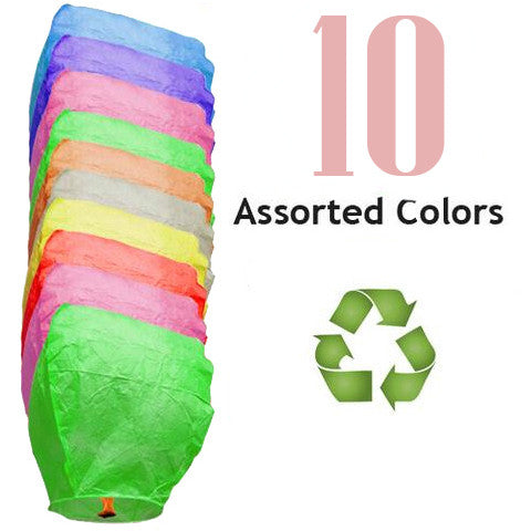 10 Assorted Color ECO Eclipse Sky Lanterns.