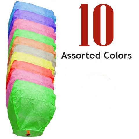 10 Assorted Color Eclipse Sky Lanterns.