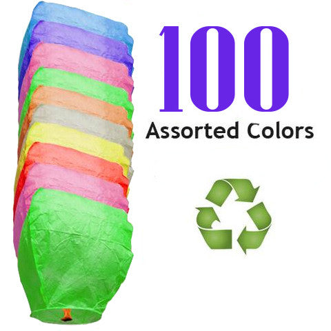 100 Assorted Color ECO Eclipse Sky Lanterns.