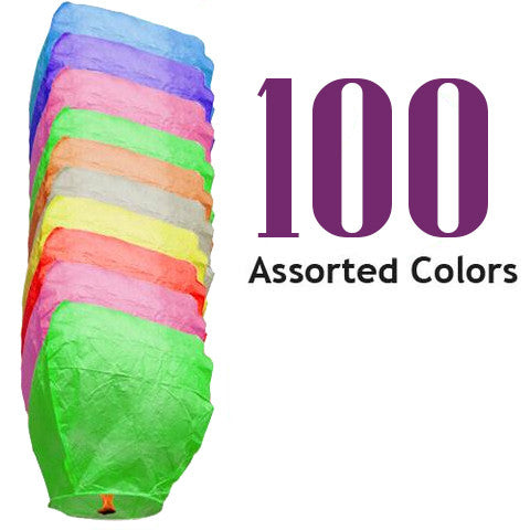 100 Assorted Color Eclipse Sky Lanterns.