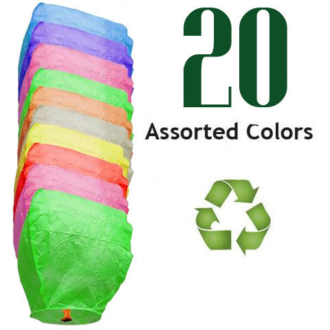 20 Assorted Color ECO Eclipse Sky Lanterns