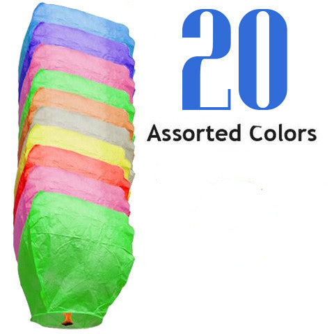 20 Assorted Color Eclipse Sky Lanterns