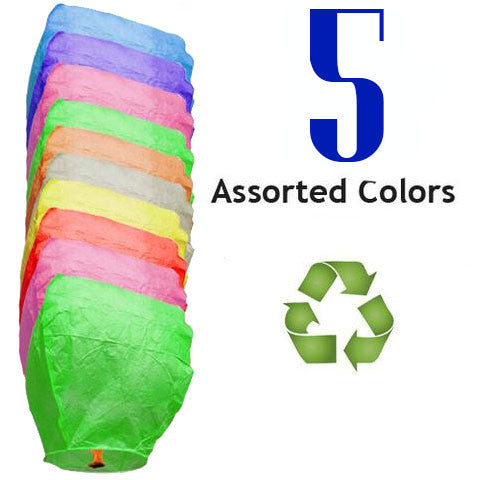 Five Assorted Color Eclipse Sky Lanterns - Fully Biodegradable and Fully Assembled