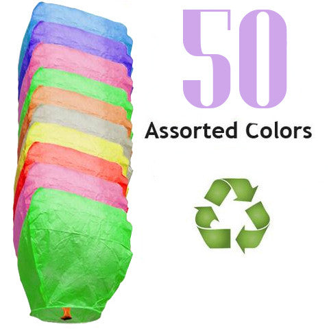 50 Assorted Color ECO Eclipse Sky Lanterns