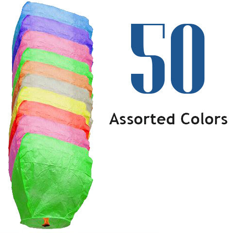 50 Assorted Color Eclipse Sky Lanterns
