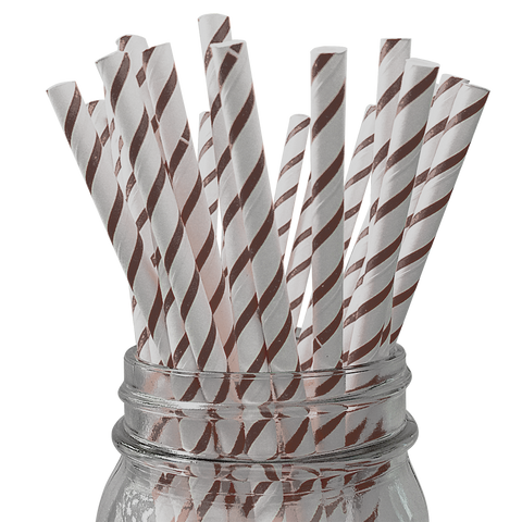 Espresso Skinny Striped 25pc Paper Straws