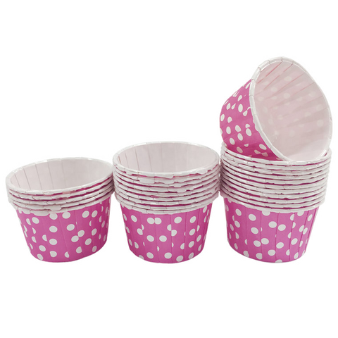 Fuchsia with White Polka Dot Mini Cupcake Paper Cups