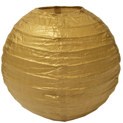 Gold Ribbed Paper Lanterns
