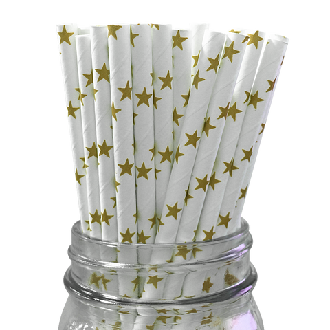 Gold Stars 25pc Paper Straws
