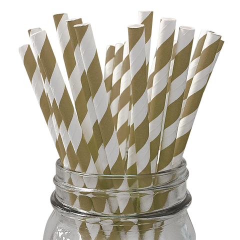 Gold Striped 25pc Paper Straws