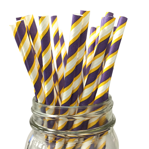 Grape and Yellow Striped 25pc Paper Straws.