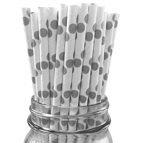 Grey Polka Dot 25pc Paper Straws.