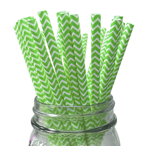 Green Apple Chevron Striped 25pc Paper Straws