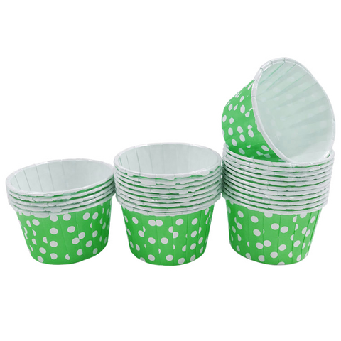 Green with White Polka Dot Mini Cupcake Paper Cups