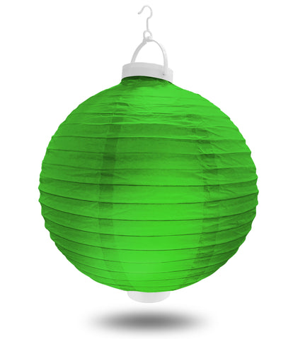 "12"" Green Battery Operated LED Paper Lanterns."