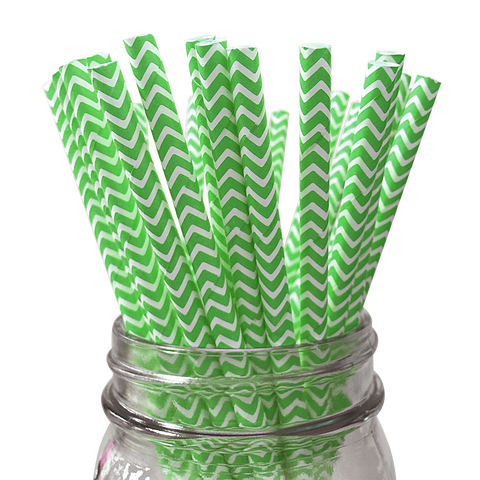 Green Chevron Striped 25pc Paper Straws