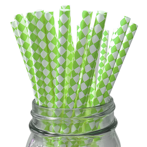 Green Apple Harlequin Diamond 25pc Paper Straws