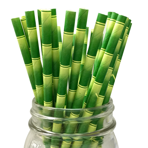 Green Bamboo Pattern 25pc Paper Straws