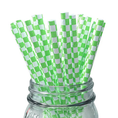 Green Checkered 25pc Paper Straws.