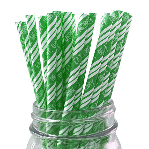 Green Eat Drink and Be Merry 25pc Paper Straws