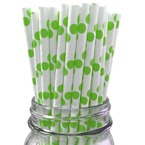 Green Polka Dot 25pc Paper Straws