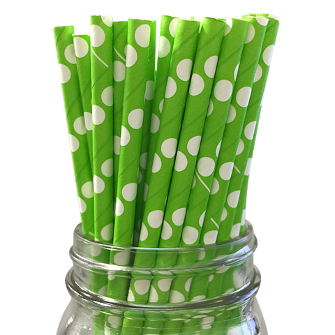 Green with White Polka Dot 25pc Paper Straws.