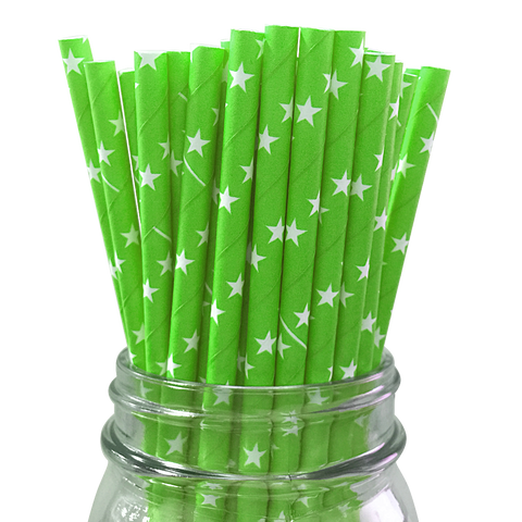 Green with White Stars 25pc Paper Straws
