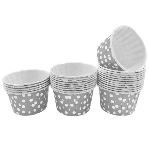Grey with White Polka Dot 10pc Mini Paper Cups.
