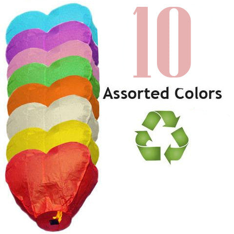 10 Assorted Color ECO Heart Sky Lanterns.