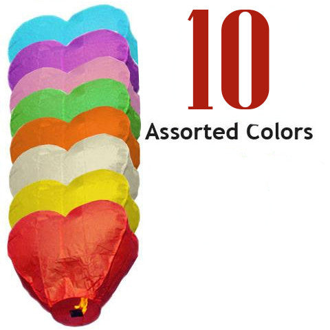 10 Assorted Color Heart Sky Lanterns.