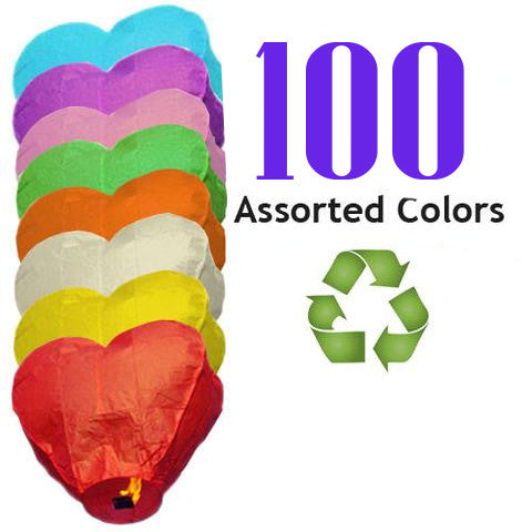 100 Assorted Color ECO Heart Sky Lanterns.