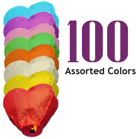 100 Assorted Color Heart Sky Lanterns.