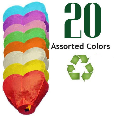 20 Assorted Color ECO Heart Sky Lanterns