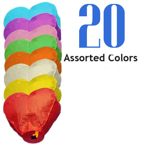 20 Assorted Color Heart Sky Lanterns