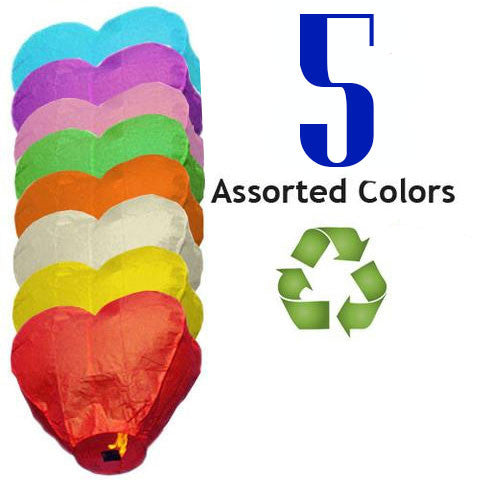Five Eco Friendly Heart Sky Lanterns