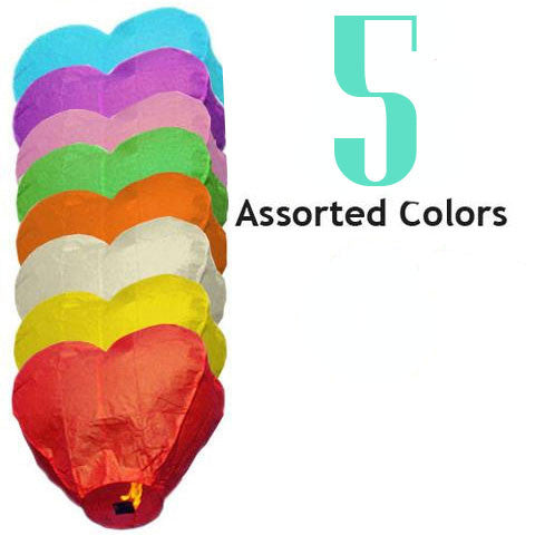 5 Assorted Color Heart Sky Lanterns.