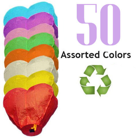 50 Assorted Color ECO Heart Sky Lanterns