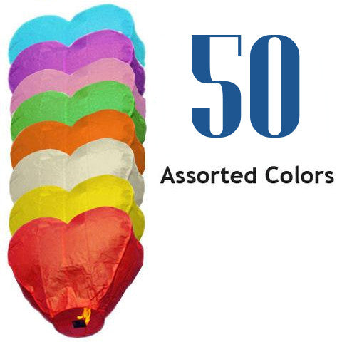 50 Assorted Color Heart Sky Lanterns