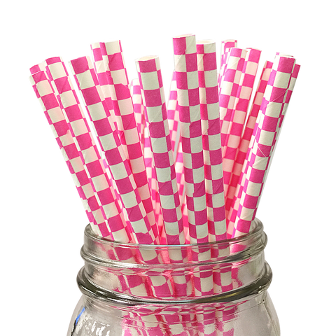 Hot Pink Checkered 25pc Paper Straws