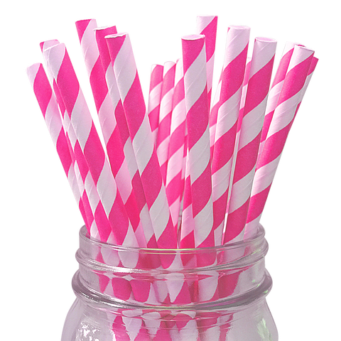 Hot Pink Striped 25pc Paper Straws