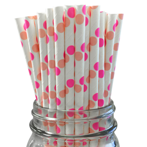Hot Pink and Light Pink Polka Dot 25pc Paper Straws.