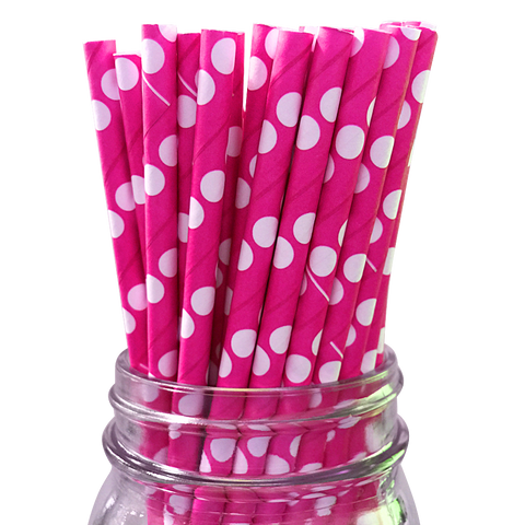Hot Pink with White Polka Dot 25pc Paper Straws.